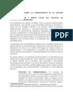 Normatividad Sobre La Transferencia de La Gestión Municipal