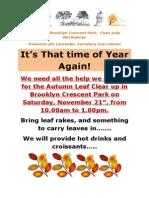 Brooklyn Crescent Park Autumn Clear Up 2015