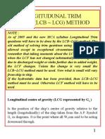 1h Longitudunal Trim Lcb Lcg Method