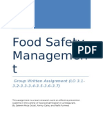 Checklists for Food Safety assignment