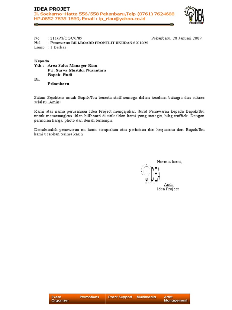 Contoh Surat Quotation Harga Suratmenyuratnet