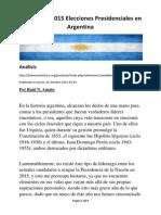Candidatos 2015 Elecciones Presidenciales en Argentina