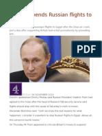 Putin Suspends Russian Flights to Egypt