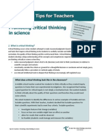 Tips4Teachers Promoting Critical Thinking in Science