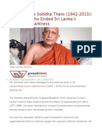 Maduluwawe Sobitha Thero (1942-2015) the Monk Who Ended Sri Lanka's Decade of Darkness