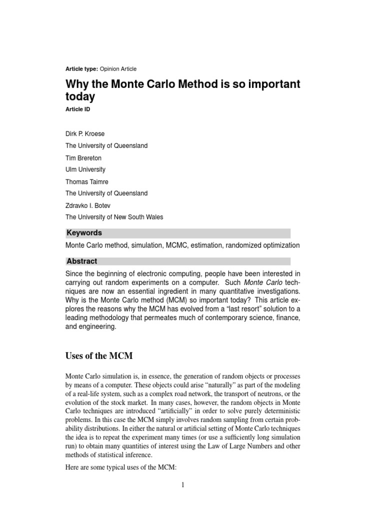 Why the Monte Carlo Method is So Important Today | Monte Carlo
