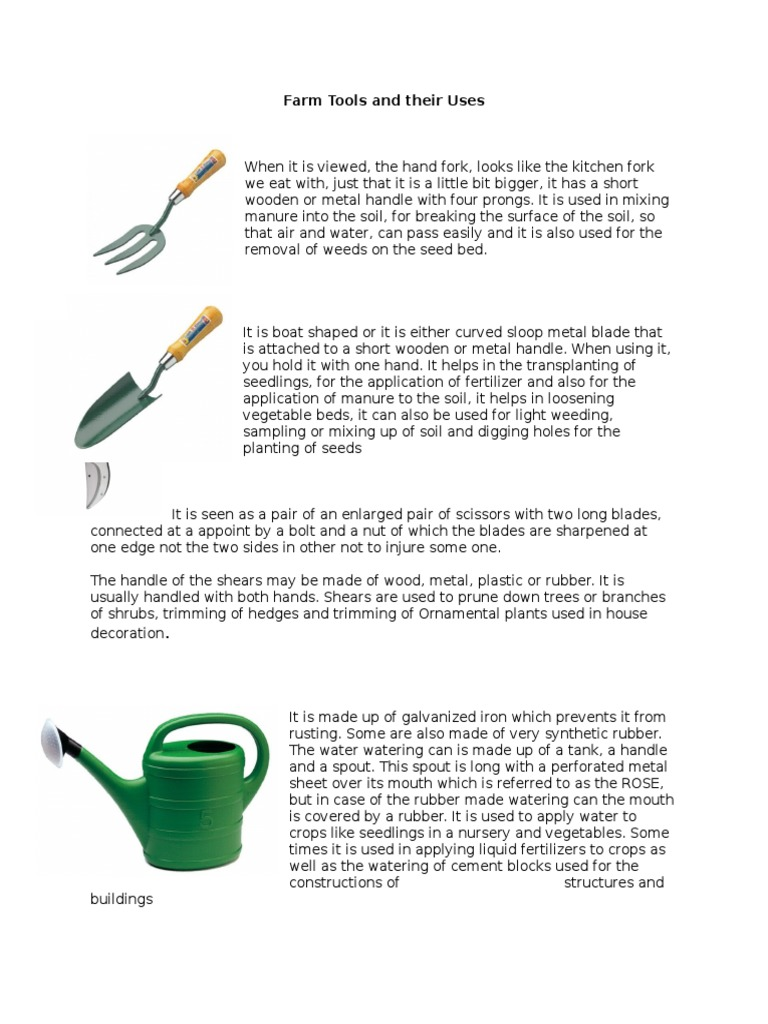 Farm tools and their uses tractor scissors for Gardening tools with meaning