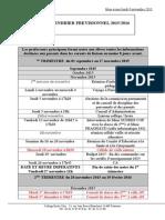 Calendrier Prévisionnel Du 5 11 2015