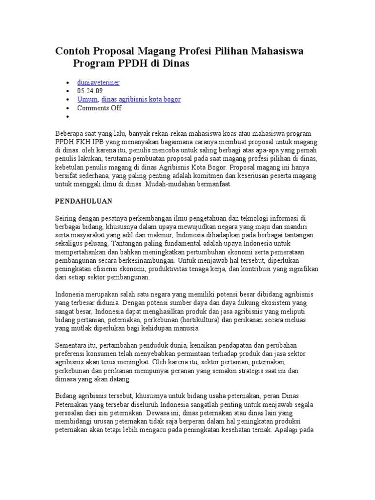 Contoh Proposal Magang Profesi Pilihan Mahasiswa Program Ppdh