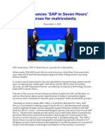 SAP Announces 'SAP in Seven Hours' Courses for Matriculants
