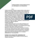 Descripción de Las Farmacocinéticas y Farmacodinamia de Los Principales Fármacos Adrenérgicos y Sus Bloqueadores