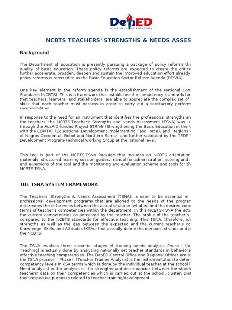 NCBTS-TSNA Self Assessment Tool | Educational Assessment ...