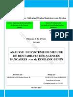 Mémoire Sur La Rentabilité Des Agences Bancaires