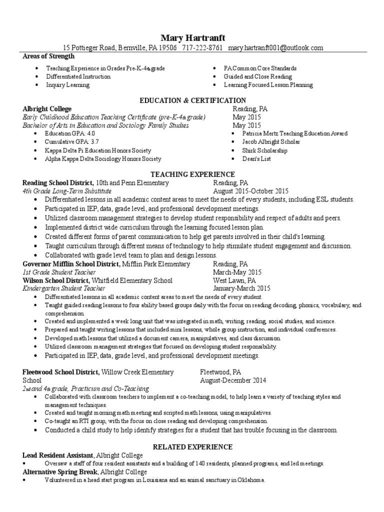 Resume 2015 1 Teachers Reading Comprehension