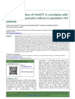Effect of Institution of HAART in Correlation With Various Anthropometric Indices in Paediatric HIV Patients 2014