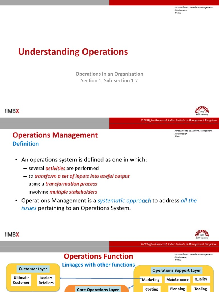 introduction to operations management | operations management