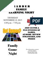 Family Learning Night November 12