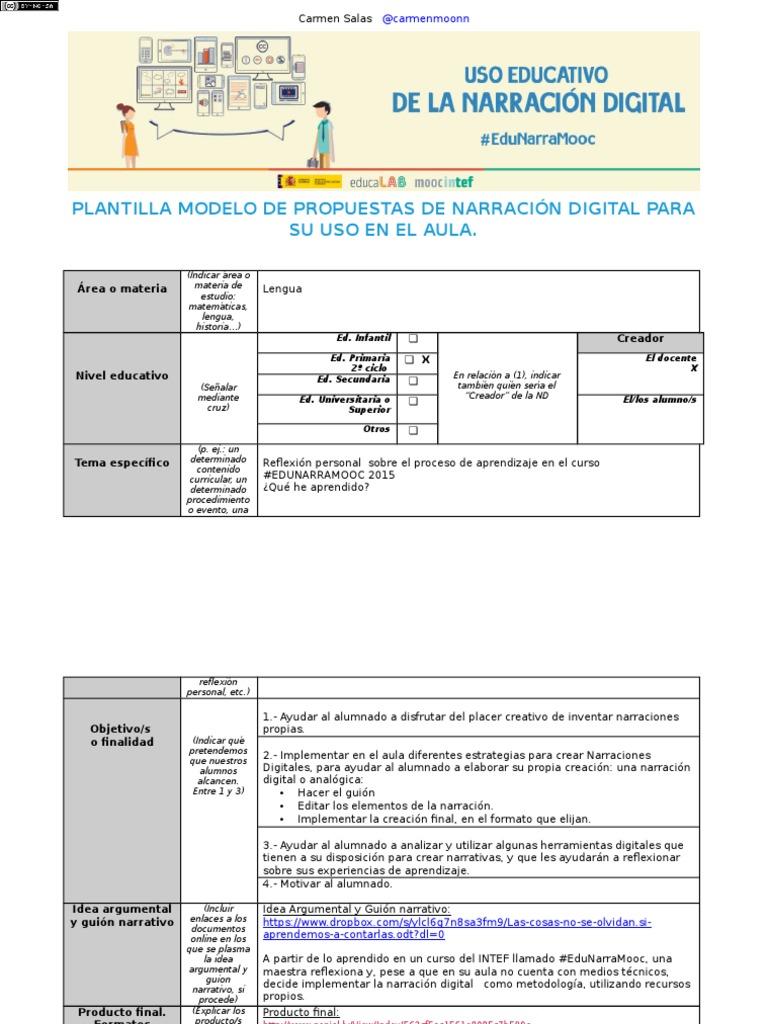Plantilla Modelo de Propuestas de Narracion Digital Para Su Uso en ...