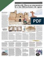 El templo histórico de Tisco se encuentra dañado debido a las filtraciones de agua