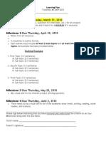 Milestone Due Dates and Milestone #1 Sheets 2010 Trimester 3