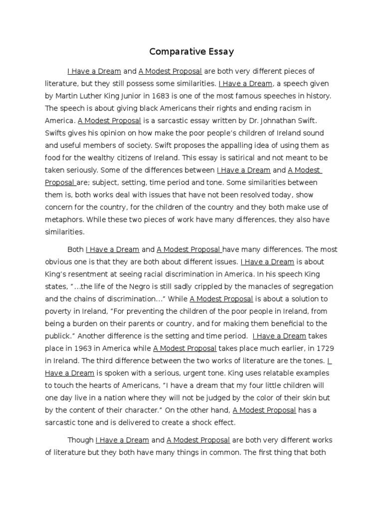 Nice Comparative Essay I Have A Dream And A Modest Proposal | Ethnicity, Race U0026  Gender | Racism