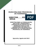 Directiva Final de Proyectos Municipalidad Prov. Hga.