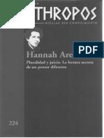 Revista Anthropos, 224, Hannah Arendt