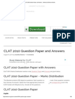 CLAT 2010 Question Paper and Answers - Admission & Entrance Exams