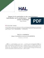 Impact de La Motivation Et Des Caractéristiques Individuelles Sur La Performance - Application Dans Le Monde Académique