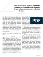 Effectuality of relative advantage of Assistive Technology on teaching and learning of integrated English among the visually impaired learners in special secondary schools in Kenya