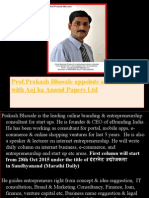 Prof.prakash Bhosale Appoints as Columnist With Aaj Ka Anand Papers Ltd