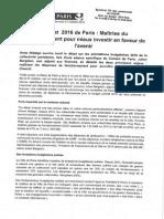 Budget 2016 de Paris