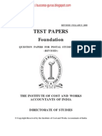 ICWAI Foundation Test Papers (Revision July 2009)-Test Papers for Postal Coaching (Revised July 2009)