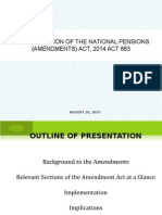 Implementation of Pensions Amendments Act 883