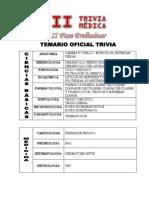 Temario II Fase 30 de Noviembre Trivia Medica 2015
