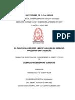 El Pago de Las Deudas Hereditarias en El Derecho Sucesorio Salvadoreño