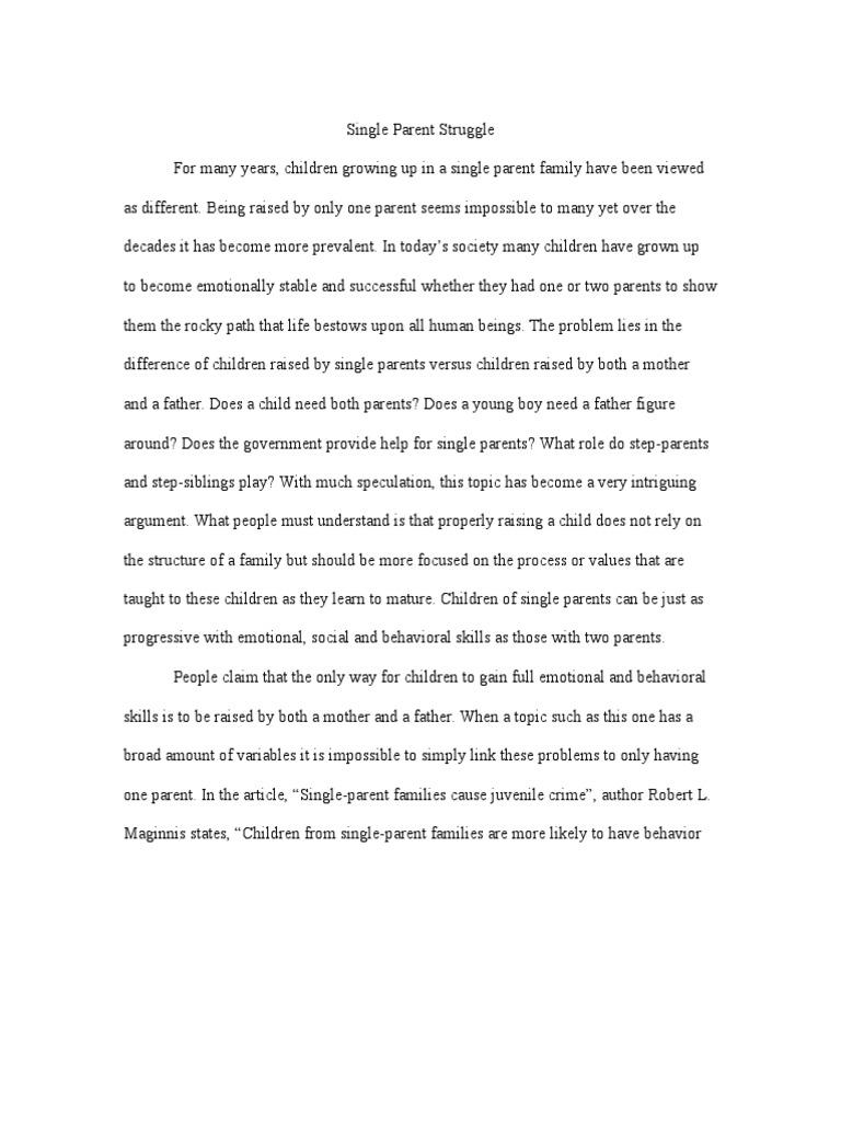 Argument Essay: Single Parent Struggle   Single Parent   Stepfamily