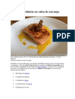 Receta de Salmón en Salsa de Naranja