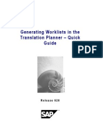 SAP Web as Generating Worklists in the Translation Planner - Quick Guide
