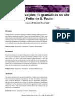 Operacionalizações de gramáticas no site da Folha de S. Paulo