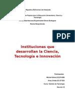 instituciones que desarrollan la ciencia, tecnología e innovacion