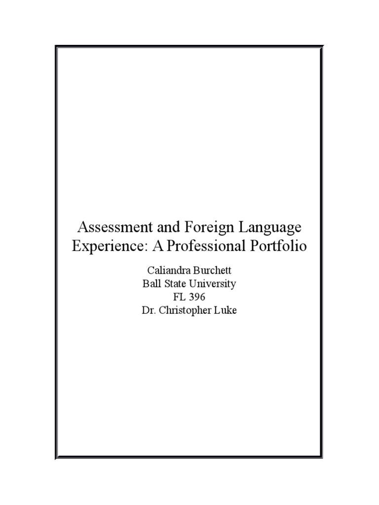 Fl Assessment Portfolio Educational Assessment Test Assessment