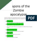 weapons of the zombie apocalypse