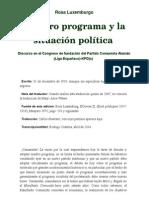 Nuestro Programa y La Situacion Politica Rosa Luxemburgo