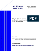 Ms en 1997 1 2012 Malaysia National Annex to Eurocode 7 Geotechnical Designs Part 1 General Rules PDF