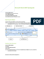 Intro to Word 2007 Quickguide