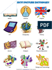 School Subjects Esl Picture Dictionary Worksheet