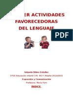 Actividades favorecedoras lenguaje