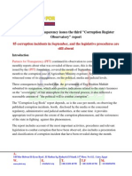 "Partners For Transparency issues the third ""Corruption Register Observatory"" report"