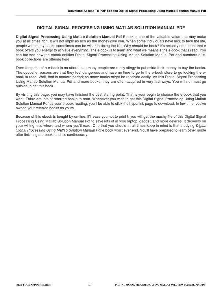 digital signal processing using matlab solution manual pdf signal rh es scribd com digital signal processing using matlab proakis 3rd edition solution manual digital signal processing using matlab proakis 3rd edition solution manual